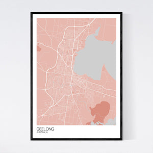Geelong City Map Print