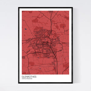 Glenrothes City Map Print