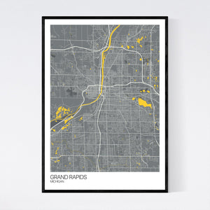 Grand Rapids City Map Print