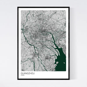 Guangzhou City Map Print