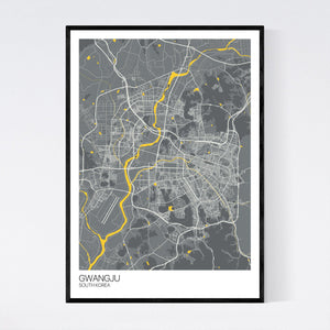 Gwangju City Map Print
