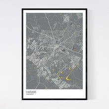 Load image into Gallery viewer, Harare City Map Print