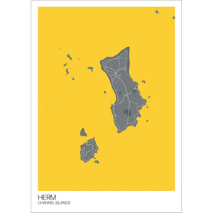 Map of Herm, Channel Islands