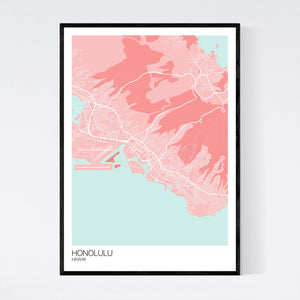 Honolulu City Map Print