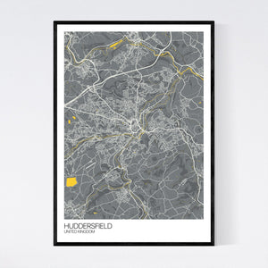 Huddersfield City Map Print