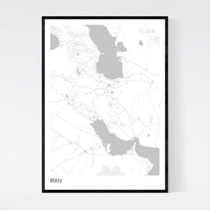 Iran Country Map Print