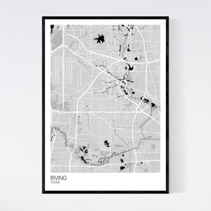 Irving City Map Print