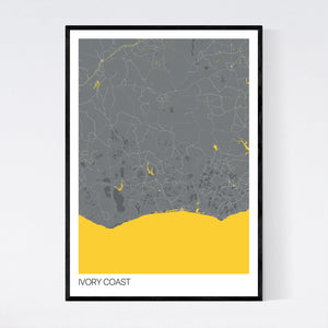 Ivory Coast Country Map Print