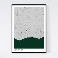 Load image into Gallery viewer, Ivory Coast Country Map Print
