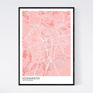 Kidderminster City Map Print