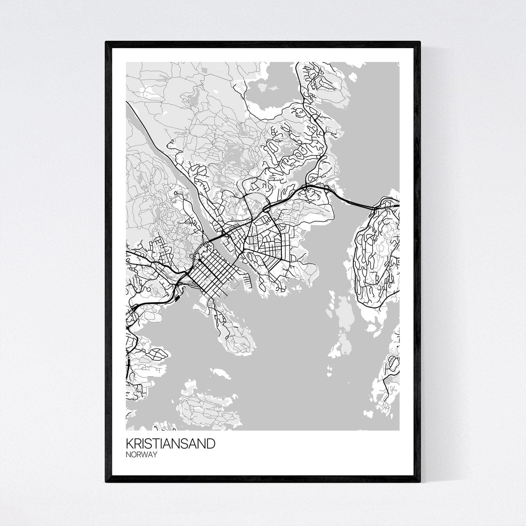 Kristiansand City Map Print