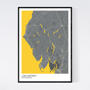 Map of Lake District, United Kingdom