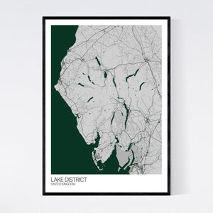 Lake District Region Map Print