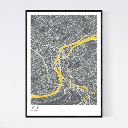 Map of Liège, Belgium
