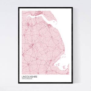 Map of Lincolnshire, United Kingdom