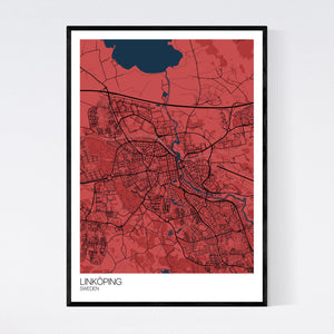 Linköping City Map Print