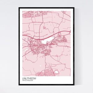 Linlithgow City Map Print
