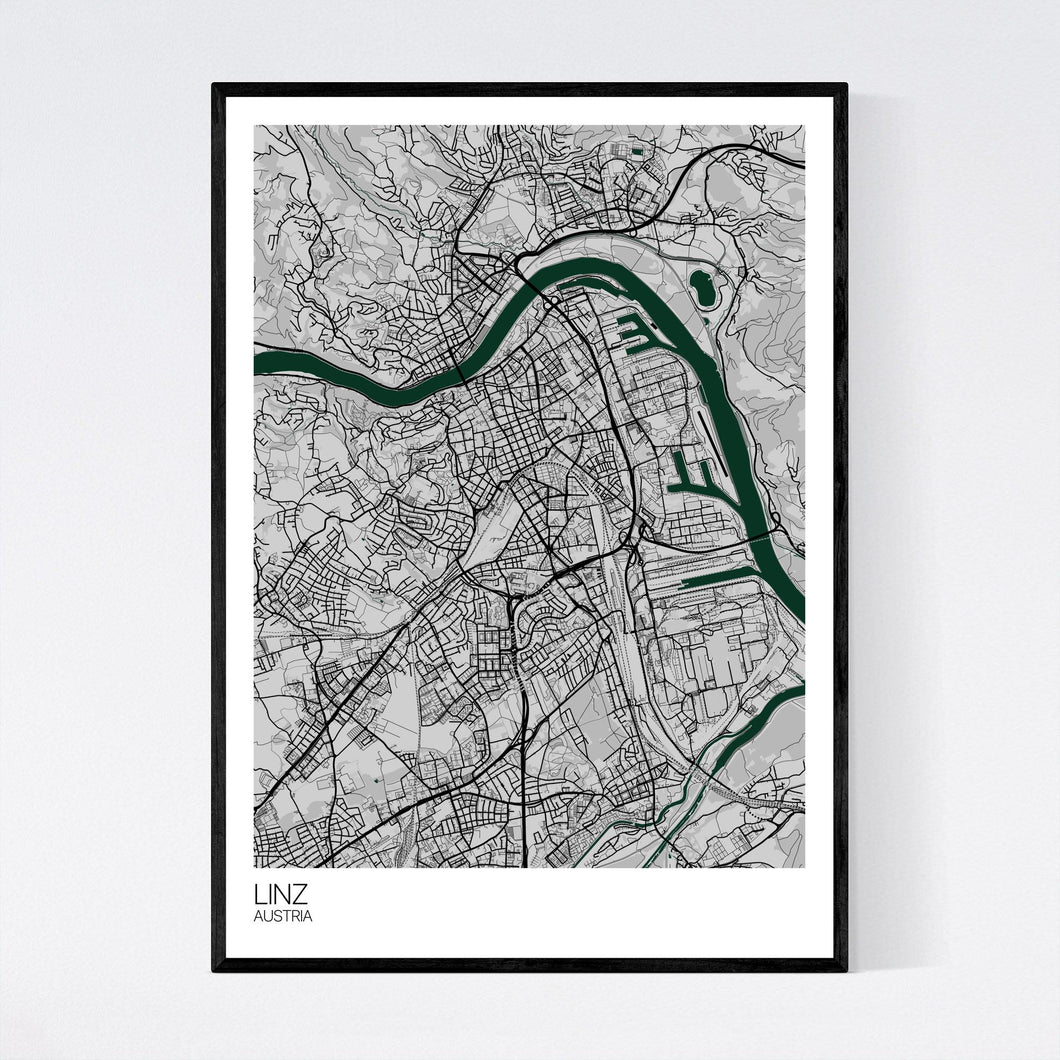 Linz City Map Print
