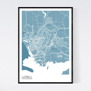 Map of Llanelli, United Kingdom