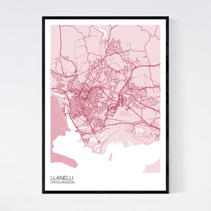 Llanelli City Map Print