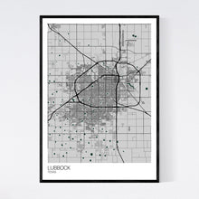 Load image into Gallery viewer, Lubbock City Map Print