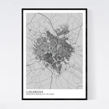 Load image into Gallery viewer, Lubumbashi City Map Print
