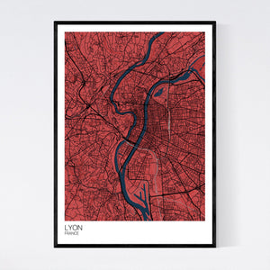 Lyon City Map Print