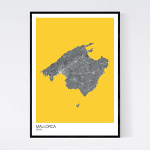 Map of Mallorca, Spain