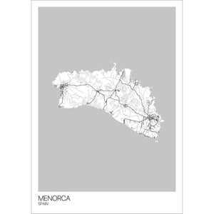 Map of Menorca, Spain