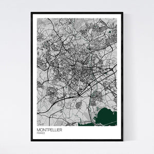 Montpellier City Map Print
