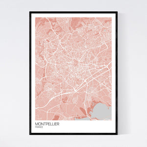 Map of Montpellier, France