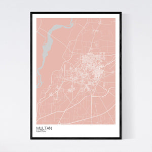 Multan City Map Print