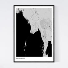 Load image into Gallery viewer, Myanmar Country Map Print