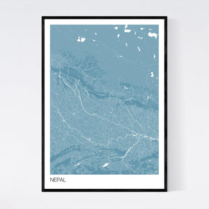 Nepal Country Map Print
