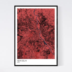 New Delhi City Map Print
