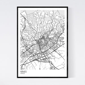 Nîmes City Map Print
