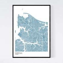 Load image into Gallery viewer, Norfolk City Map Print