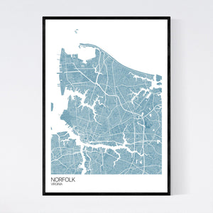 Norfolk City Map Print