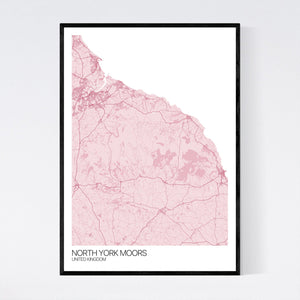 North York Moors Region Map Print