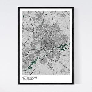 Map of Nottingham, United Kingdom