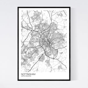 Nottingham City Map Print