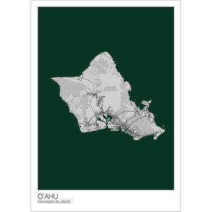 Map of Oʻahu, Hawaiian Islands