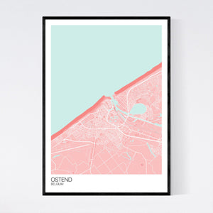 Ostend City Map Print