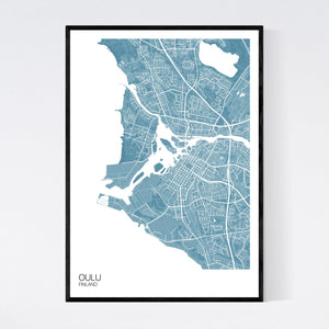 Oulu City Map Print