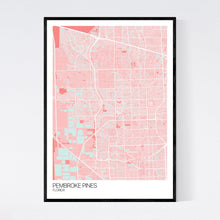 Load image into Gallery viewer, Pembroke Pines City Map Print