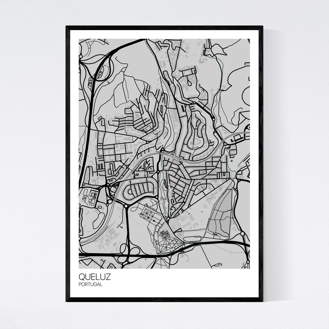Queluz City Map Print