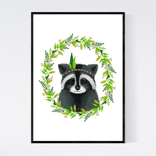 Cute Racoon with Leaves Print