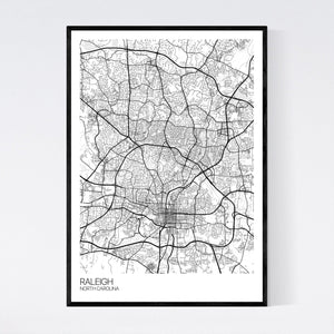 Raleigh City Map Print
