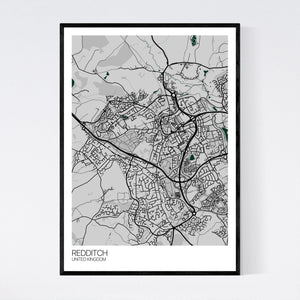 Redditch City Map Print