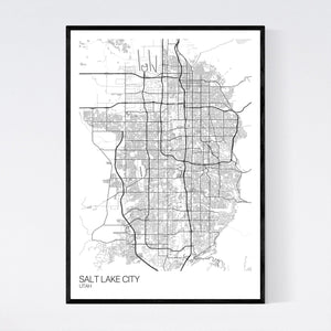 Salt Lake City City Map Print